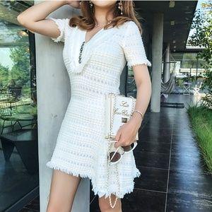 New! White Fringe V Neck Short Sleeves Mini Dress